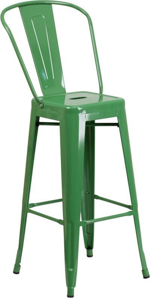 30'' High Bright Metal Indoor-Outdoor Barstool With Back (Multiple Colors) Green Outdoor Bar Chair
