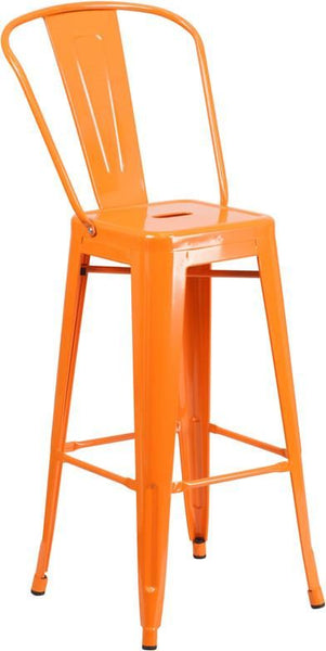 30'' High Bright Metal Indoor-Outdoor Barstool With Back (Multiple Colors) Orange Outdoor Bar Chair