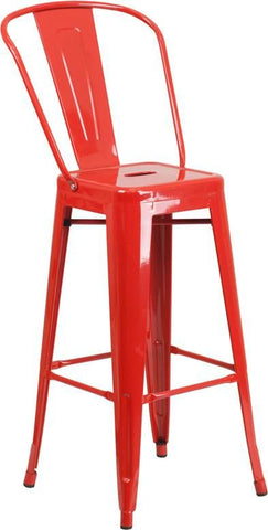 30'' High Bright Metal Indoor-Outdoor Barstool With Back (Multiple Colors) Red Outdoor Bar Chair