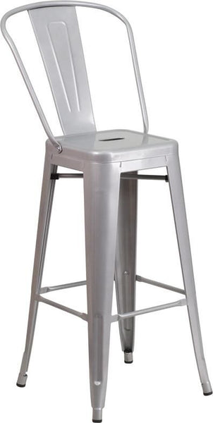 30'' High Bright Metal Indoor-Outdoor Barstool With Back (Multiple Colors) Silver Outdoor Bar Chair