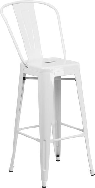 30'' High Bright Metal Indoor-Outdoor Barstool With Back (Multiple Colors) White Outdoor Bar Chair
