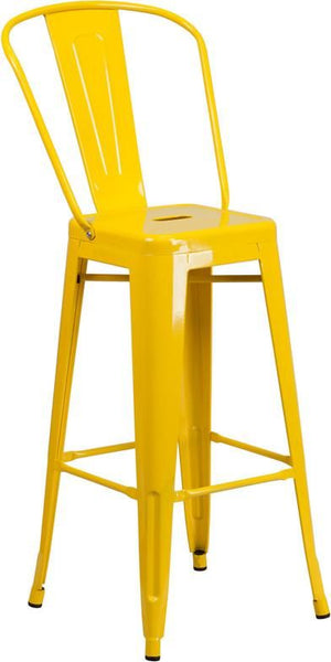 30'' High Bright Metal Indoor-Outdoor Barstool With Back (Multiple Colors) Yellow Outdoor Bar Chair