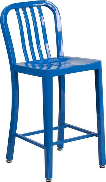 24'' High Metal Indoor-Outdoor Counter Height Stool With Vertical Slat Back Blue Outdoor Bar Chair