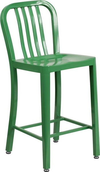 24'' High Metal Indoor-Outdoor Counter Height Stool With Vertical Slat Back Green Outdoor Bar Chair