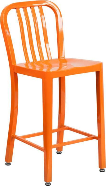 24'' High Metal Indoor-Outdoor Counter Height Stool With Vertical Slat Back Orange Outdoor Bar Chair