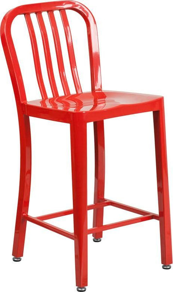 24'' High Metal Indoor-Outdoor Counter Height Stool With Vertical Slat Back Red Outdoor Bar Chair