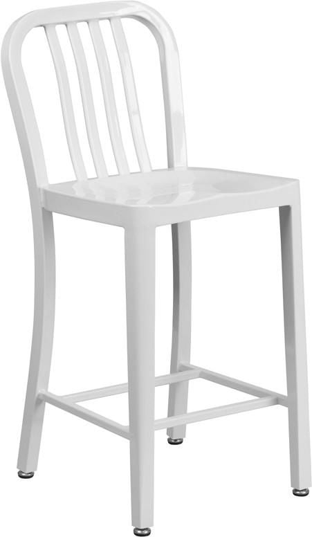 24'' High Metal Indoor-Outdoor Counter Height Stool With Vertical Slat Back White Outdoor Bar Chair