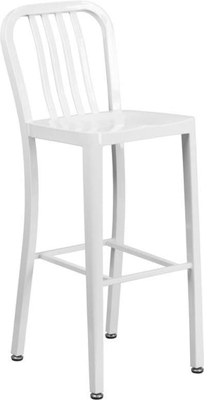 Outdoor Bar Chairs - Flash Furniture CH-61200-30-WH-GG 30'' High Metal Indoor-Outdoor Barstool with Vertical Slat Back (Multiple Colors) | 889142059943 | Only $84.80. Buy today at http://www.contemporaryfurniturewarehouse.com