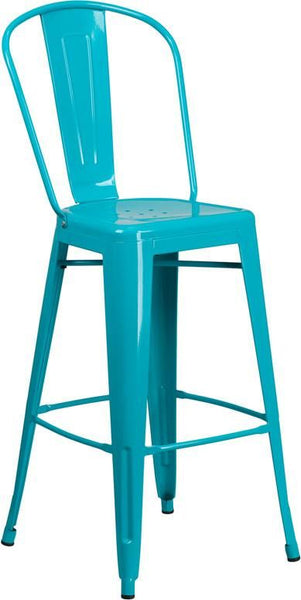 Outdoor Bar Chairs - Flash Furniture ET-3534-30-CB-GG 30'' High Metal Indoor-Outdoor Barstool with Back (Multiple Colors) | 889142049654 | Only $65.80. Buy today at http://www.contemporaryfurniturewarehouse.com