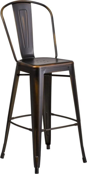 30'' High Distressed Copper Metal Indoor-Outdoor Barstool With Back Outdoor Bar Chair