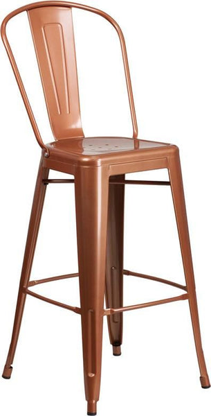 Outdoor Bar Chairs - Flash Furniture ET-3534-30-POC-GG 30'' High Metal Indoor-Outdoor Barstool with Back (Multiple Colors) | 889142049678 | Only $65.80. Buy today at http://www.contemporaryfurniturewarehouse.com