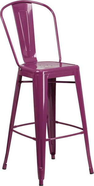 Outdoor Bar Chairs - Flash Furniture ET-3534-30-PUR-GG 30'' High Metal Indoor-Outdoor Barstool with Back (Multiple Colors) | 889142049685 | Only $65.80. Buy today at http://www.contemporaryfurniturewarehouse.com
