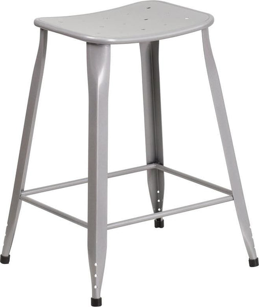 24'' High Metal Indoor-Outdoor Counter Height Stool Silver Outdoor Bar Chair