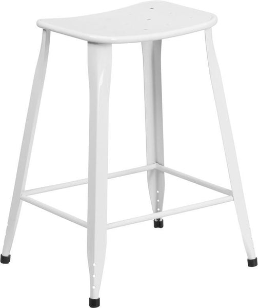 24'' High Metal Indoor-Outdoor Counter Height Stool White Outdoor Bar Chair
