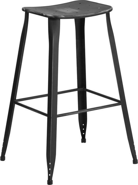 30'' High Distressed Dream Blue Metal Indoor-Outdoor Barstool Black Outdoor Bar Chair