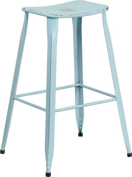 30'' High Distressed Dream Blue Metal Indoor-Outdoor Barstool Outdoor Bar Chair