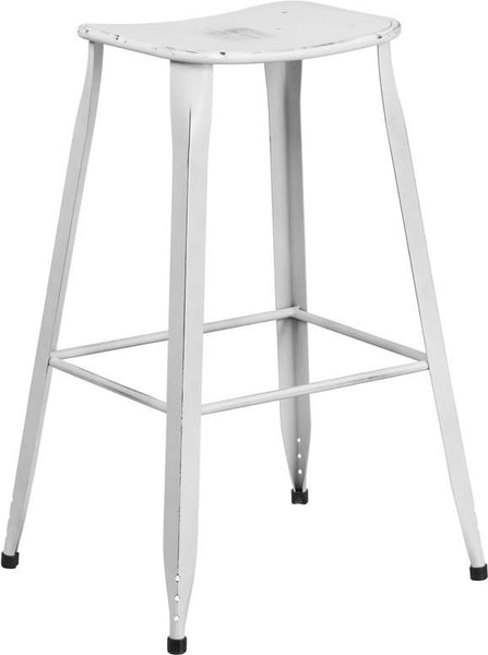 30'' High Distressed Dream Blue Metal Indoor-Outdoor Barstool White Outdoor Bar Chair