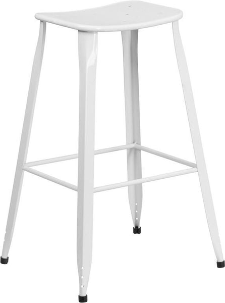 30'' High Red Metal Indoor-Outdoor Barstool White Outdoor Bar Chair