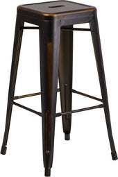 30'' High Backless Distressed Copper Metal Indoor-Outdoor Barstool Outdoor Bar Chair
