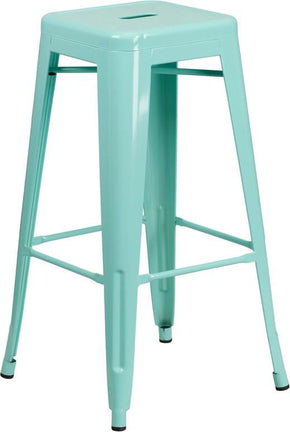 30'' High Backless Mint Green Indoor-Outdoor Barstool Outdoor Bar Chair