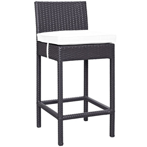 Convene Outdoor Patio Fabric Bar Stool Espresso White Chair