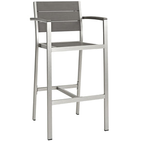 Shore Outdoor Patio Aluminum Bar Stool Silver Gray Chair