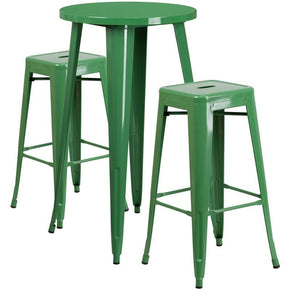 24'' Round Metal Indoor-Outdoor Bar Table Set With 2 Square Seat Backless Barstools Green Outdoor