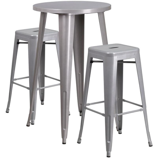 Outdoor Bar Sets - Flash Furniture CH-51080BH-2-30SQST-SIL-GG 24'' Round Metal Indoor-Outdoor Bar Table Set with 2 Square Seat Backless Barstools | 889142082835 | Only $204.80. Buy today at http://www.contemporaryfurniturewarehouse.com