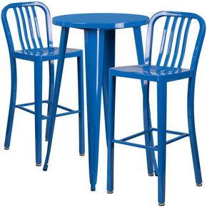 24'' Round Metal Indoor-Outdoor Bar Table Set With 2 Vertical Slat Back Barstools Blue Outdoor