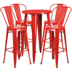 Outdoor Bar Sets - Flash Furniture CH-51080BH-4-30CAFE-RED-GG 24'' Round Metal Indoor-Outdoor Bar Table Set with 4 Cafe Barstools | 889142082217 | Only $304.80. Buy today at http://www.contemporaryfurniturewarehouse.com