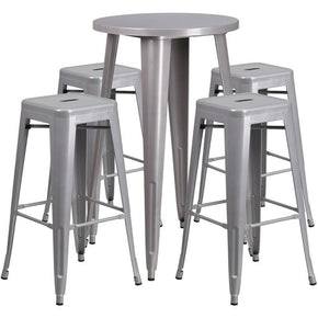 Outdoor Bar Sets - Flash Furniture CH-51080BH-4-30SQST-SIL-GG 24'' Round Metal Indoor-Outdoor Bar Table Set with 4 Square Seat Backless Barstools | 889142082927 | Only $254.80. Buy today at http://www.contemporaryfurniturewarehouse.com