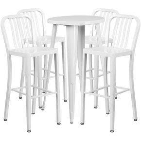 24'' Round Metal Indoor-Outdoor Bar Table Set With 4 Vertical Slat Back Barstools White Outdoor