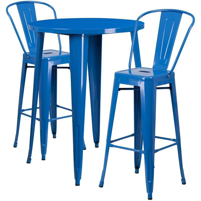 30u0027u0027 Round Metal Indoor-Outdoor Bar Table Set With 2 Cafe Barstools Blue ...  sc 1 st  Contemporary Furniture Warehouse & 30u0027u0027 Round Metal Indoor-Outdoor Bar Table Set with 2 Cafe Barstools ...
