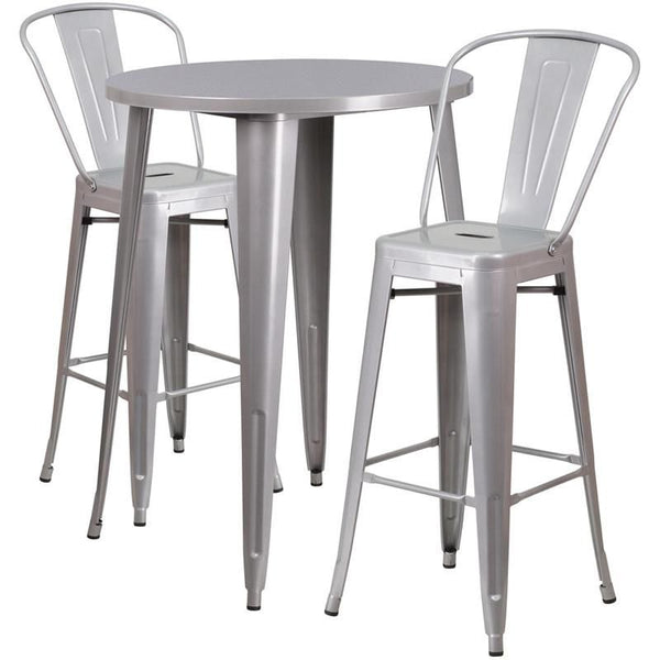 Flash Furniture CHBHCAFEBLGG Round Metal Indoor - Round metal cafe table
