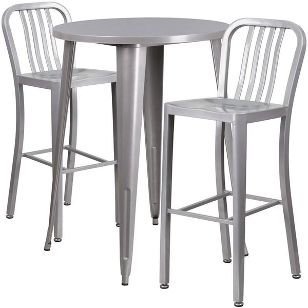 Outdoor Bar Sets - Flash Furniture CH-51090BH-2-30VRT-SIL-GG 30'' Round Metal Indoor-Outdoor Bar Table Set with 2 Vertical Slat Back Barstools | 889142081579 | Only $329.80. Buy today at http://www.contemporaryfurniturewarehouse.com