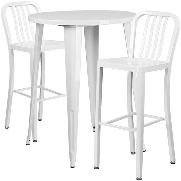 Outdoor Bar Sets - Flash Furniture CH-51090BH-2-30VRT-WH-GG 30'' Round Metal Indoor-Outdoor Bar Table Set with 2 Vertical Slat Back Barstools | 889142081555 | Only $329.80. Buy today at http://www.contemporaryfurniturewarehouse.com