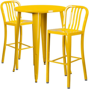30'' Round Metal Indoor-Outdoor Bar Table Set With 2 Vertical Slat Back Barstools Yellow Outdoor