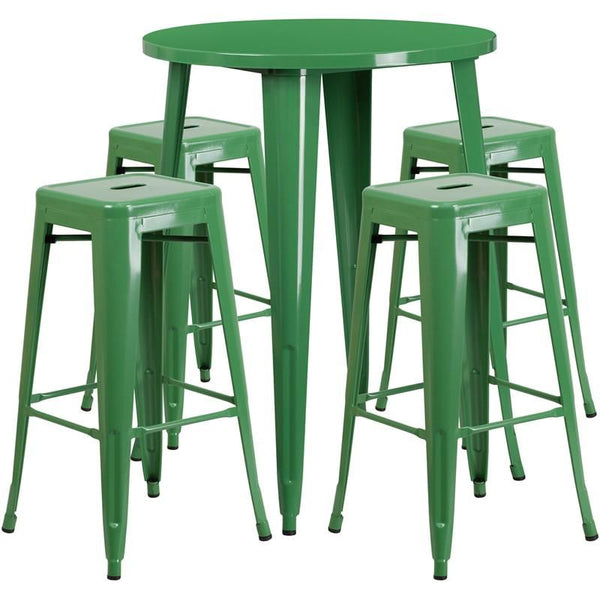 Outdoor Bar Sets - Flash Furniture CH-51090BH-4-30SQST-GN-GG 30'' Round Metal Indoor-Outdoor Bar Table Set with 4 Square Seat Backless Barstools | 889142083139 | Only $323.80. Buy today at http://www.contemporaryfurniturewarehouse.com