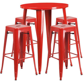 30'' Round Metal Indoor-Outdoor Bar Table Set With 4 Square Seat Backless Barstools Red Outdoor
