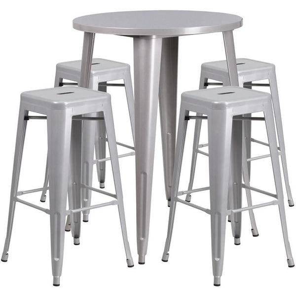 Outdoor Bar Sets - Flash Furniture CH-51090BH-4-30SQST-SIL-GG 30'' Round Metal Indoor-Outdoor Bar Table Set with 4 Square Seat Backless Barstools | 889142083108 | Only $323.80. Buy today at http://www.contemporaryfurniturewarehouse.com