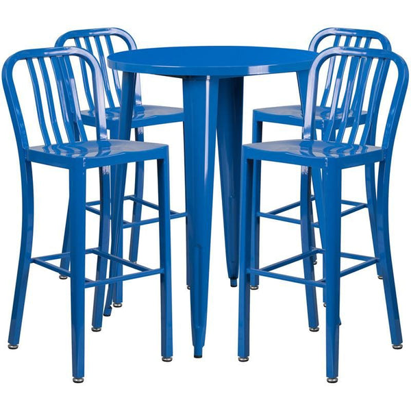 30'' Round Metal Indoor-Outdoor Bar Table Set With 4 Vertical Slat Back Barstools Blue Outdoor