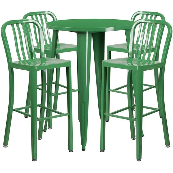 30'' Round Metal Indoor-Outdoor Bar Table Set With 4 Vertical Slat Back Barstools Green Outdoor