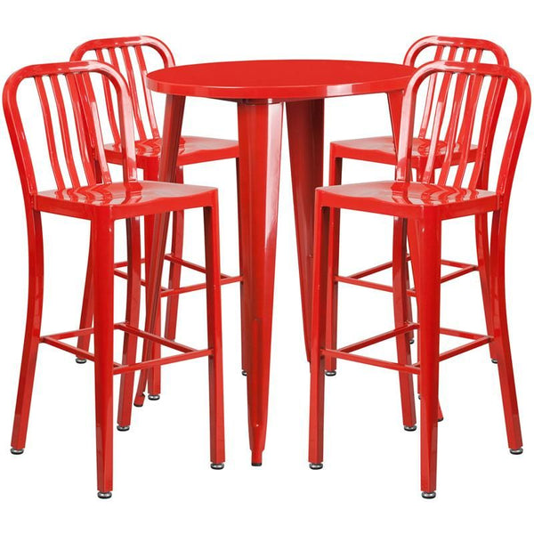 30'' Round Metal Indoor-Outdoor Bar Table Set With 4 Vertical Slat Back Barstools Red Outdoor