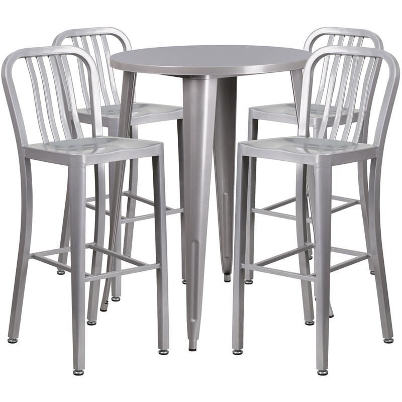 30'' Round Metal Indoor-Outdoor Bar Table Set With 4 Vertical Slat Back Barstools Silver Outdoor