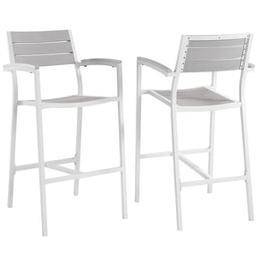 Maine Bar Stool Outdoor Patio Set Of 2 White Light Gray