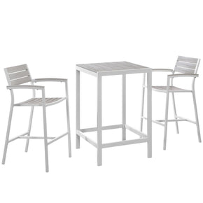 Maine 3 Piece Modern Outdoor Patio Dining Set Solid Light Gray Wood White Bar