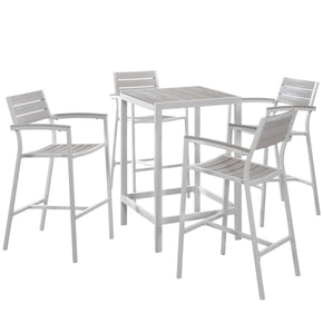 Outdoor Bar Sets - Modway EEI-1755-WHI-LGR-SET Maine Modern 5 Piece Outdoor Patio Bar Set Solid Light Gray Wood | 889654004615 | Only $707.50. Buy today at http://www.contemporaryfurniturewarehouse.com