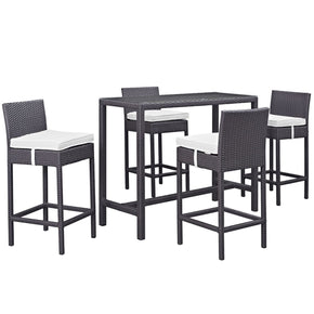 Outdoor Bar Sets - Modway EEI-1964-EXP-WHI-SET Convene 5 Piece Rattan Outdoor Rattan Patio Pub Set | 889654028093 | Only $867.00. Buy today at http://www.contemporaryfurniturewarehouse.com