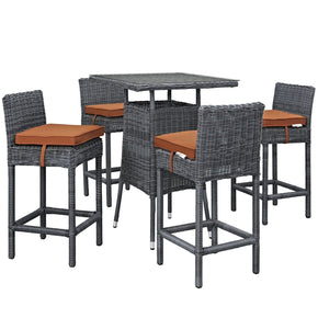 Summon 5 Piece Outdoor Patio Sunbrella Pub Set Canvas Tuscan Bar