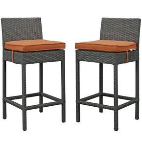 Sojourn 2 Piece Outdoor Patio Rattan Sunbrella Pub Set Canvas Tuscan Bar
